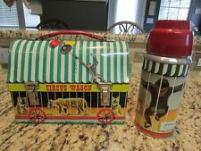 VINTAGE RARE 1958 CIRCUS WAGON METAL DOME LUNCHBOX & NEAR MINT THERMOS