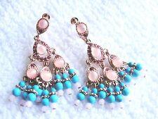 Joan Rivers Rose Gold Tone Southwest Style Dangle Chandelier Earrings Screw EUC