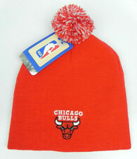 CHICAGO BULLS NBA RED VINTAGE KNIT RETRO UNCUFFED WITH POM BEANIE CAP HAT NEW!