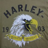 Harley Davidson Eagle Graphic Mens XL Long Sleeve Olive Tshirt Has Small Stains