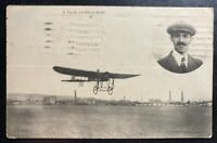 1914 Lisbon Portugal RPPC Real Picture Postcard Cover Salles On Bleriot Monoplan