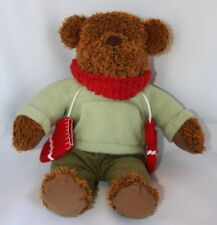 """Hallmark brown Teddy Bear w/ Green Outfit Red Scarf Mittens Christmas 12"""" Plush"""