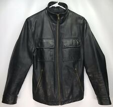 Men's SMALL- Express Thick 100% Genuine Leather Riding Jacket Motorcycle Black