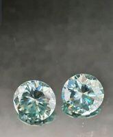 Moissanita 2.01 ct Par azul fancy  talla redonda  6.83 mm