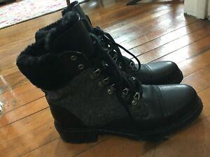 NEW frye samantha hiker 9 black leather gray wool