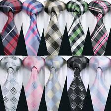 Mens Plaids Check Tie Silk Blue Red Black Handkerchief Cufflinks Set Formal USA