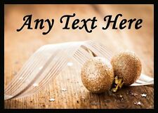 Gold Glitter Ball Christmas Personalised Dinner Table Placemat