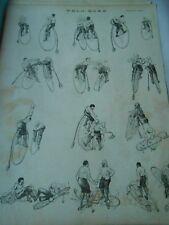Vélo Boxe en Vélocipède 1895 Original Print Humour