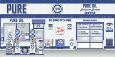 PURE OIL GAS STATION PUMP SCENE WHOLE WALL MURAL SIGN BANNER GARAGE ART 8' X 16'