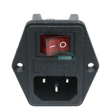 Black Red AC 250V 10A 3 Terminal Power Socket with Fuse Holder M