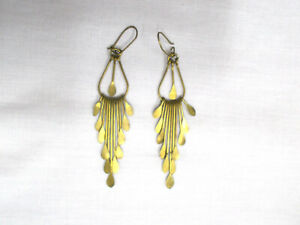 GORGEOUS VINTAGE BOLLYWOOD LONG GRADUATING MULTI PART REAL 1980'S BRASS EARRINGS