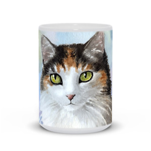 Coffee Mug Cup 11oz or 15oz Cat 572 Calico watercolor art L.Dumas