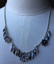 Dainty Monochrome Enamel Pilgrim Flower Necklace/Daisy/Danish/Silver Tone/Grey