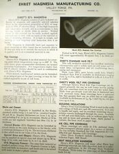 EHRET Magnesia Manufacturing ASBESTOS Pipe Covering Insulation Catalog Ad 1944