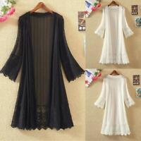 Women Vintage Lace Loose Shawl Long Kimono Cardigan Boho Jacket Coat Shirt Q