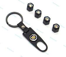 1Set Tire Valve Stem Caps Car Logo Wheel Dust Air Cover Keychain for Cadillac