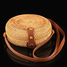 Women Summer Round Straw Shoulder Bags Rattan Bag HandWoven Beach Crossbody New