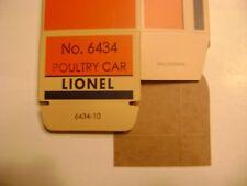 Lionel No. 6434 Poultry Dispatch Car  Licensed Reproduction Box