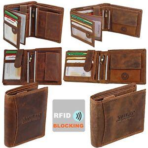 Herren Leder Geldbörse Echtleder Portemonnaie RFID-Schutz Geldbeutel Portmonee