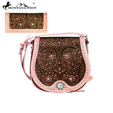 Montana West Concho Collection Saddle Bag and Wallet Set Coffee