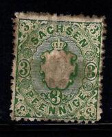 Sachsen 1863 Mi. 14 Gestempelt 40% 3 pf, das Wappen