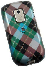 For Sprint HTC Hero Hard Protector Case Snap on Phone Cover Blue Plaid