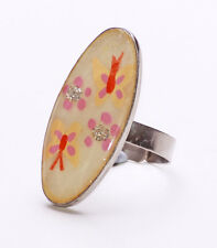 SILVER METAL & PEACH PLASTIC OVAL RING WITH BUTTERFLIES & GLITTER FLOWERS(ZX45)