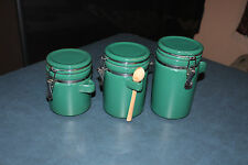 3 Green Ceramic Canisters Hinged Lid w/Wooden Spoon ALCO INDUSTRIES, INC.