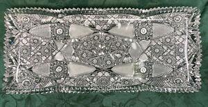 "American Brilliant Period Deep Cut Crystal Glass Serving Tray 7"" x 16""~Very Fine"