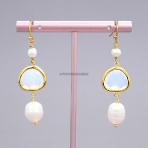 Natural White Rice Pearl Colorful White Cat Crystal Gold Plated Hook Earrings