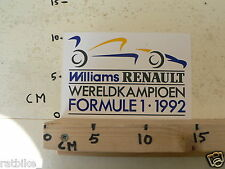 STICKER,DECAL WILLIAMS RENAULT WERELDKAMPIOEN FORMULE 1 1992 FORMULA ONE F1