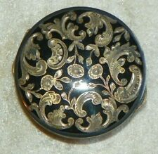 "Vintage 2"" Gilt 935 Sterling Silver Black Cloisonne Compact Face Powder Box #282"