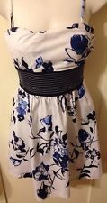 New Retro Rockabilly Pin-Up Speeckles Black & Blue Abstract Floral Cami Dress 5