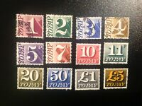 GB 1970 Postage Dues twelve different values including £5 stamp, fine used.