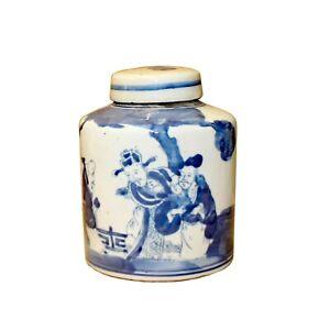 Chinese Blue White Ceramic 3 Gods Graphic Container Urn Jar ws845