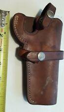 """Vtg S&W Brown Leather Snap Belt Holster N FRAME 20,21,27,28,29,57,58,64 Ruger 4"""""""