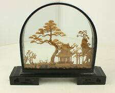 Vintage Diorama Asian Chinese Cork Art Shadow Box Lacquer