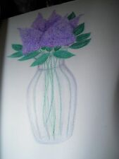colored pencil drawing flowers lilacs in vase