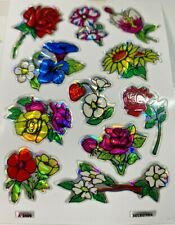 Vintage 1980's Prism Flower Stickers Lot Of 11 Sheets 3.5 x 2.5""