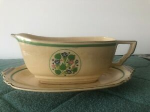 1920's  Gravey Bowel & Plate Gleneden By Leigh Potters RARE Vtg USA MADE