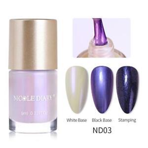 NICOLE DIARY Pearl Effect Nail Stamping Polish Nail Glitter Stamp Varnish 9ml