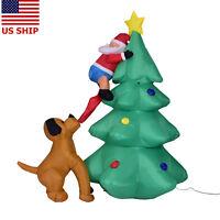 US! 6 ft Inflatable Airblown Santa Claus Climbing Christmas Tree Dog Yard Decor