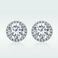 Elegant 925 Sterling Silver Gold Plated Ear Stud Earrings Round Cubic Zirconia