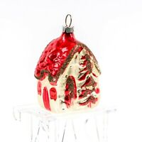 West Germany Vtg Mica Hand Painted Blown Glass House Cottage Christmas Ornament