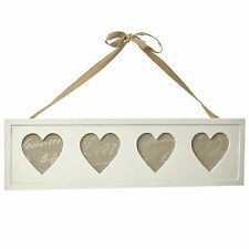 Heaven Sends Love Hearts White Wooden Hanging Photo Frame w Ribbon White