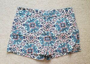 Ann Taylor LOFT Riviera Shorts Sz 8 Cotton Paisley Medallion Pink Teal Short EUC