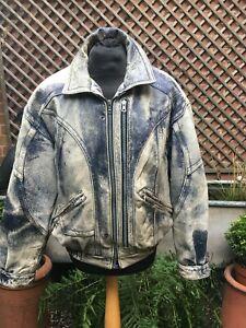 Vintage AMERICAN BASICS weathered leather Flight Bomber casual jacket men's L
