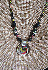 3D Vortex Swirl Art Glass Pendant Beaded Necklace Rasta Colors Red Gold Green
