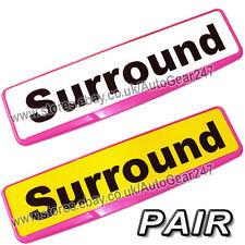 2 Car Number License Registration Plate Pink Trim Surround Frame Holder. Pair