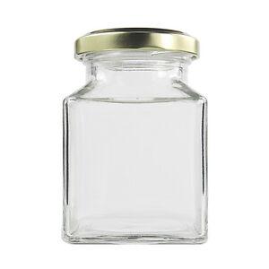 55 Medium Square Glass Food Jars 190ml With Gold Lids-Bulk Discount